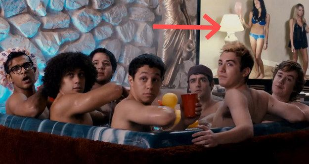 Living in a Perfect World movie scenes During the hot tub scene in the Treble House a porno is playing on the TV in the background