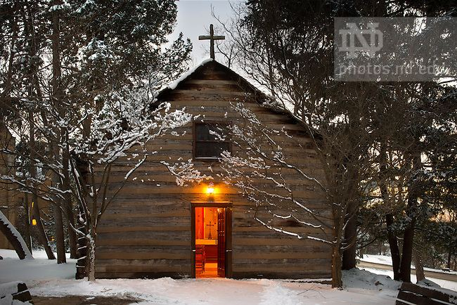 Log Chapel, University of Notre Dame Log Chapel Winter DuskJPG University of Notre Dame Photography
