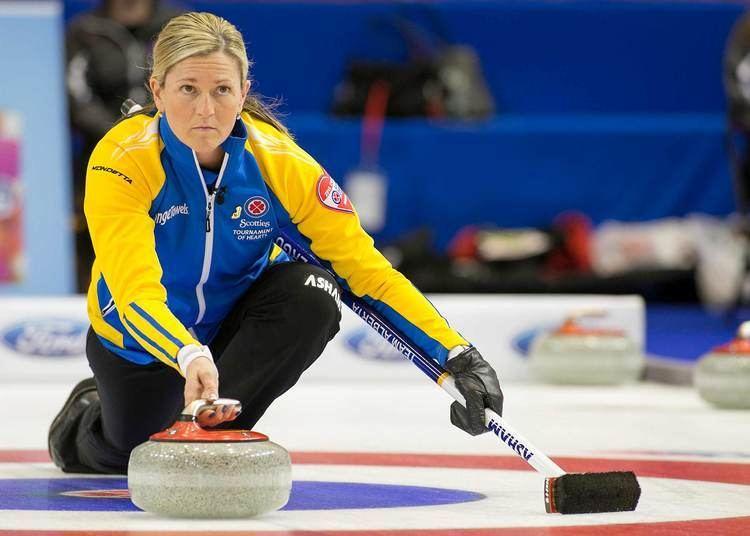 Lori Olson-Johns Team Alberta third Lori OlsonJohns throws her vice rock