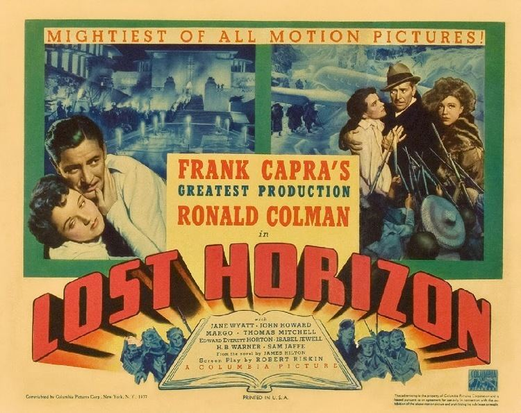 Lost Horizon (1937 film) movie scenes Frank Capra s Lost Horizon based on James Hilton s bestselling novel was the most expensive and most ambitious movie Columbia had made up to that point