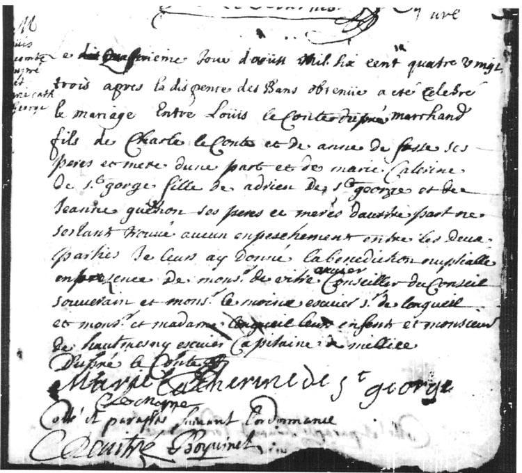 Louis Lecompte FileContrat de mariage de Louis Lecompte Dupr avec MarieCatherine