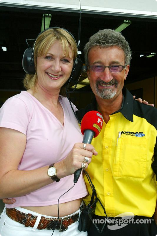 Louise Goodman Eddie Jordan with ITVF1 reporter Louise Goodman at French