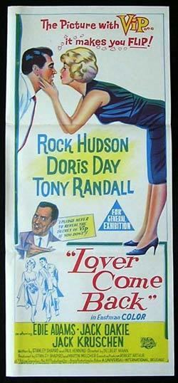 Lover Come Back (1961 film) LOVER COME BACK Movie Poster 1961 Doris Day Rock Hudson daybill