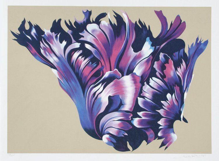 Lowell Blair Nesbitt Amazoncom Art Black Parrott Tulip Screenprint Lowell