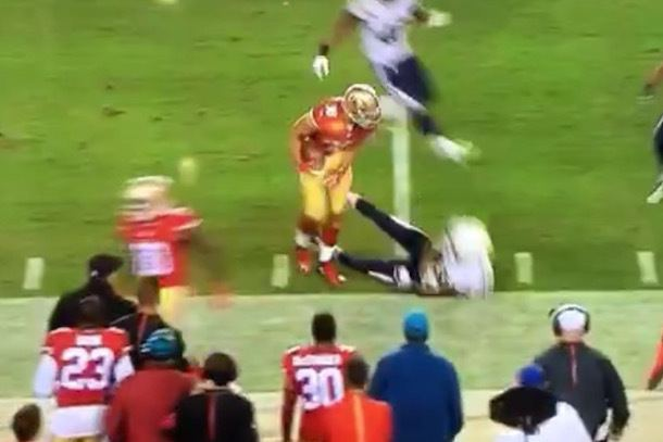 Lowell Rose Jarryd Hayne Lays Out Chargers Cornerback Lowell Rose