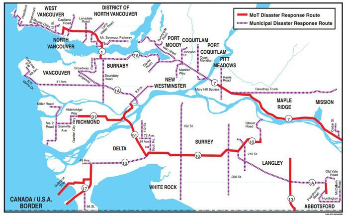Lower Mainland Disaster Response Route Maps Province of British Columbia