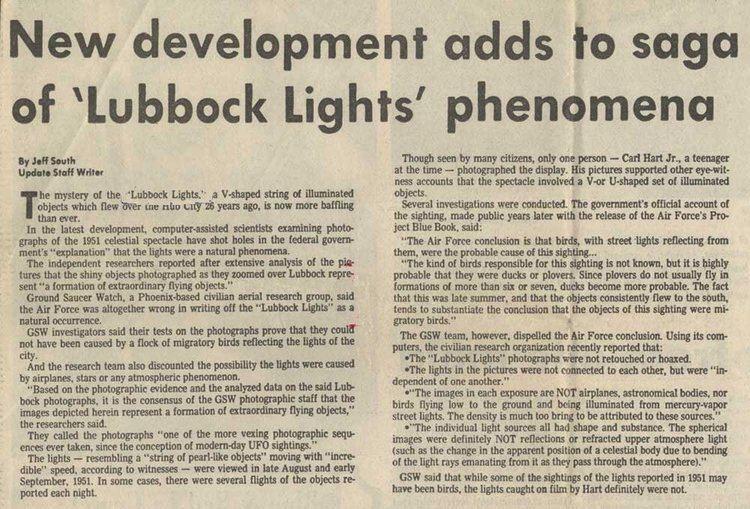 Lubbock Lights The Lubbock Lights 1951 UFO Casebook Files