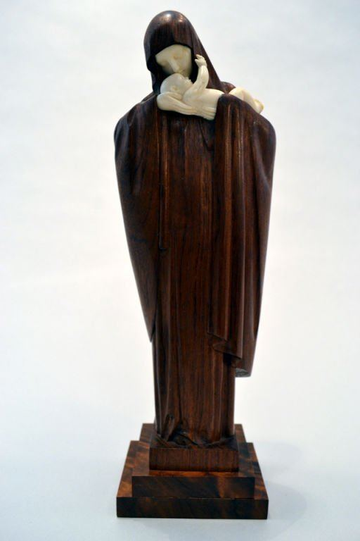 Lucienne Heuvelmans Magnificent Statue of Madonna and Child By Lucienne Heuvelmans at
