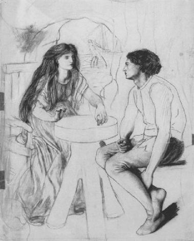 Lucy Madox Brown Ferdinand and Miranda playing chess by Lucy Madox Brown on artnet