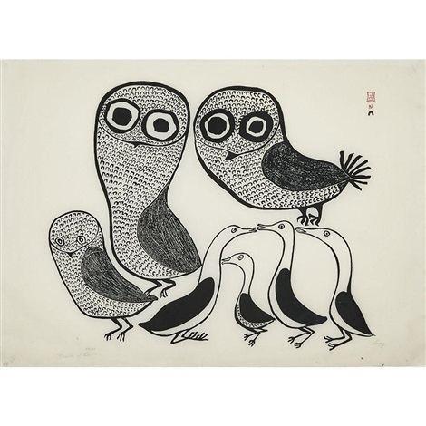 Lucy Qinnuayuak FAMILY OF BIRDS by Lucy Qinnuayuak on artnet