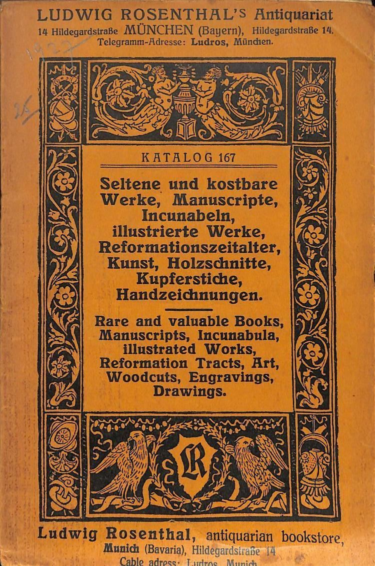 Ludwig Rosenthal Ludwig Rosenthal Munchen AbeBooks