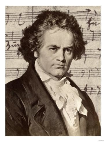 Ludwig van Beethoven Ludwig Van Beethoven with One of His Manuscripts Giclee