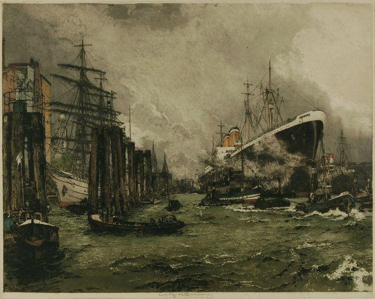 Luigi Kasimir Luigi Kasimir etching Hamburg Harbor For Sale Antiques