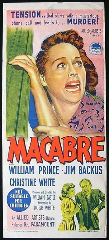 Macabre (1958 film) MACABRE Movie Poster 1958 Richardson Studio RARE William Castle daybill