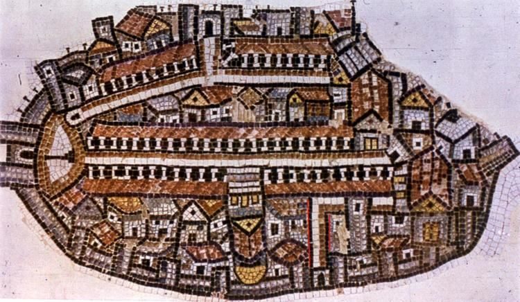 Madaba Map Road from ancient Madaba map uncovered in Jerusalem Bible