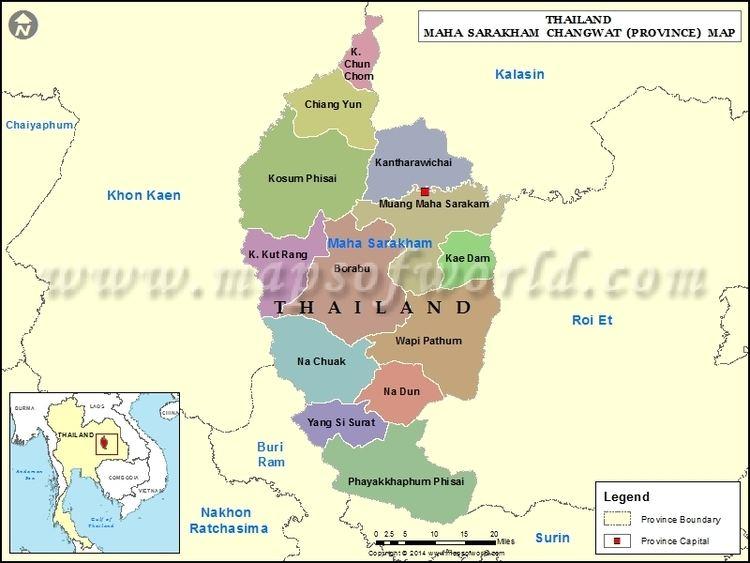 Maha Sarakham Map Map of Maha Sarakham Province Thailand