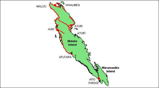 A map of Malaita Province SIBC
