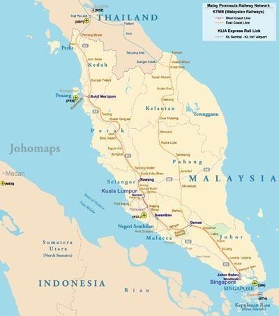 Malay Peninsula Rail Map of Malay Peninsula JohoMaps