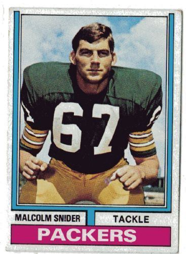 Malcolm Snider GREEN BAY PACKERS Malcolm Snider 318 TOPPS 1974 American Football
