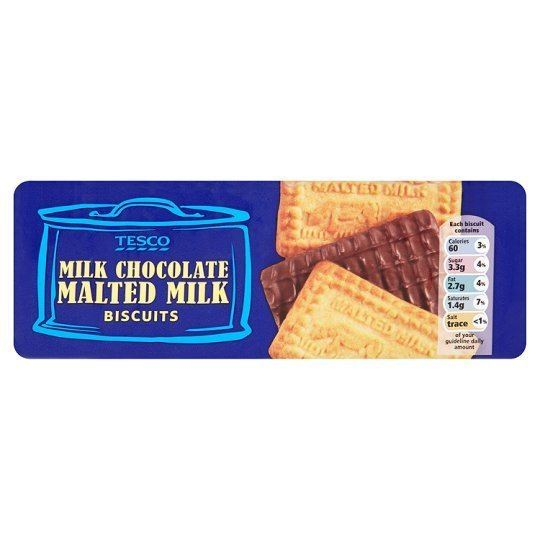 Malted milk (biscuit) Tesco Chocolate Malted Milk Biscuits 250G Groceries Tesco Groceries