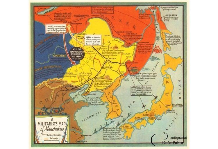 Manchukuo MANCHUKUO China A Militarist39s map of Manchukuo 1935