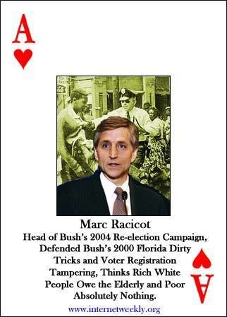 Marc Racicot Photo Cartoons GOP Most Wanted Playing Cards Marc Racicot