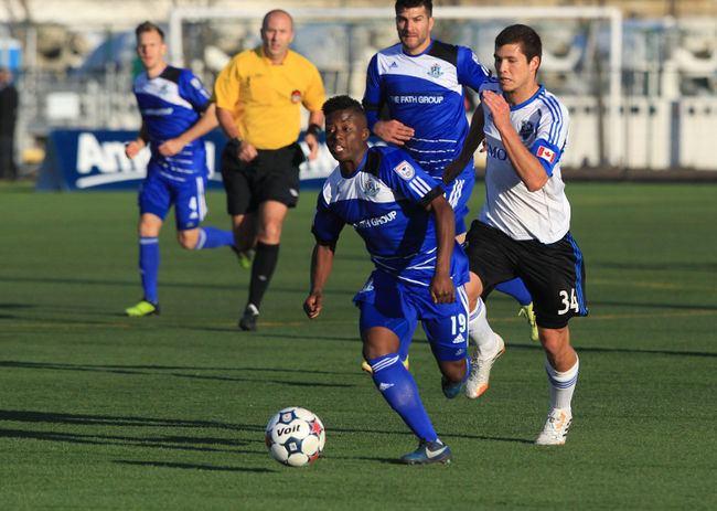 Marko Aleksic FC Edmonton players Marko Aleksic Hanson Boakai and Sadi Jalali