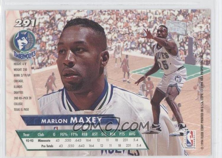 Marlon Maxey imgcomccomiBasketball199394FleerUltra291