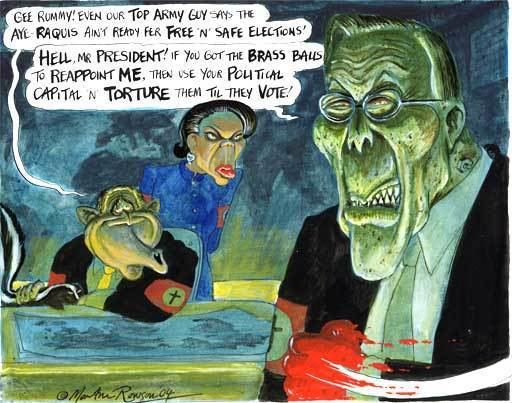 Martin Rowson 061204 The prospects of free and fair elections in Iraq