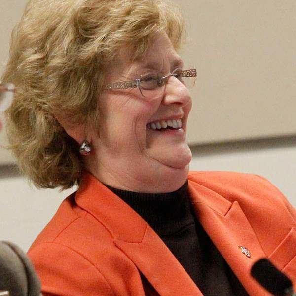 Mary Ellen Mazey BGSU rally against prposed faculty cuts The Blade