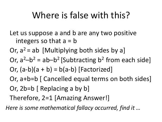 Mathematical fallacy httpsimageslidesharecdncommathematicalfallac