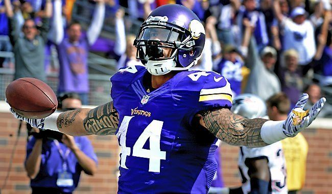Matt Asiata Vikings Matt Asiata gets handoff of a lifetime