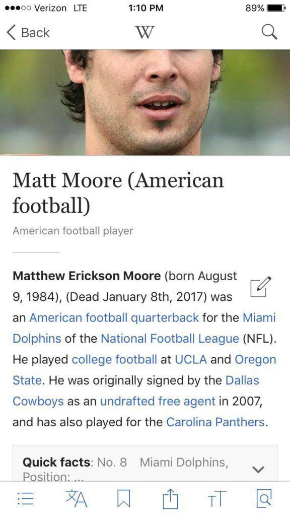 Matt Moore (American football) Wikipedia Already Pronounced Dolphins QB Matt Moore Dead Online