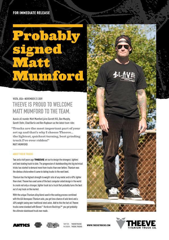 Matt Mumford Matt Mumford Joins THEEVE Trucks Team GrindTVcom
