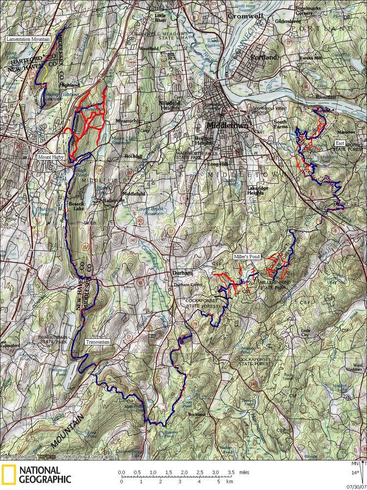 Mattabesett Trail Mattabesett Trail Hiking Map