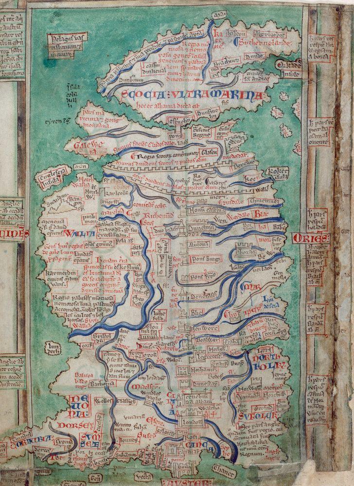 Matthew Paris Map of Great Britain by Matthew Paris British Library Prints
