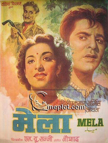 Mela 1948 Vintage Poster Starring Dilip Kumar Nargis and Jeevan