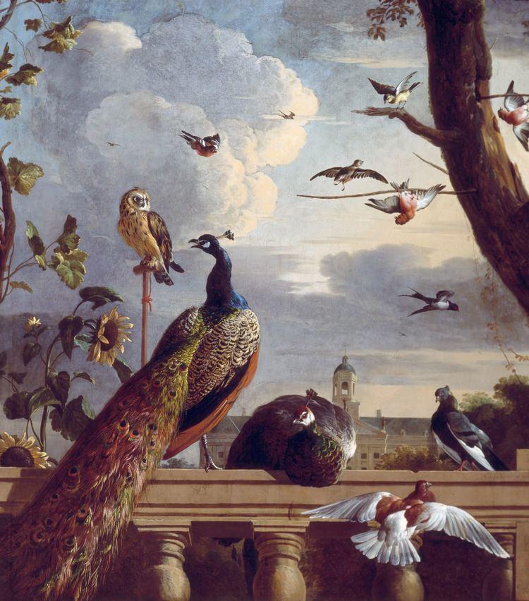 Melchior d'Hondecoeter FileBirds near a balustrade by Melchior d39 Hondecoeterjpg