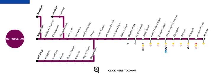 Metropolitan line Metropolitan Line London Map Timetable Service Status