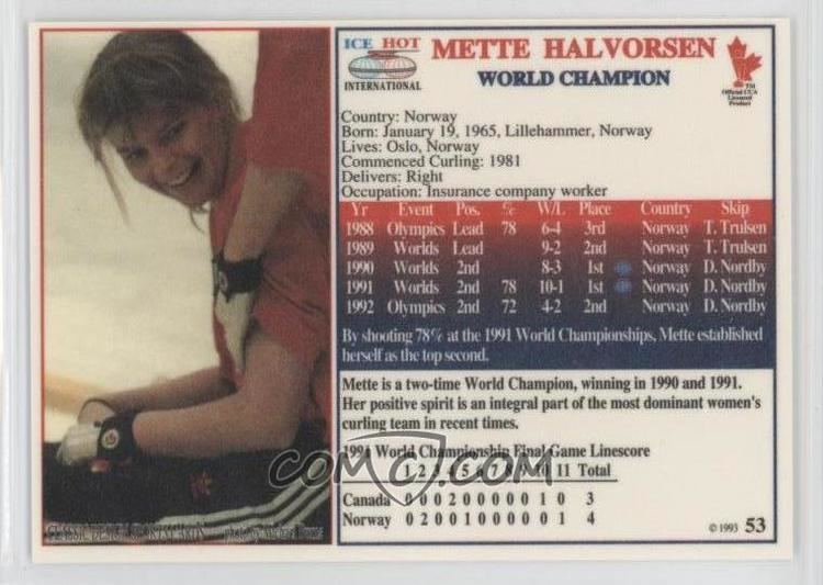 Mette Halvorsen 1993 Ice Hot International Curling Base 53 Mette Halvorsen
