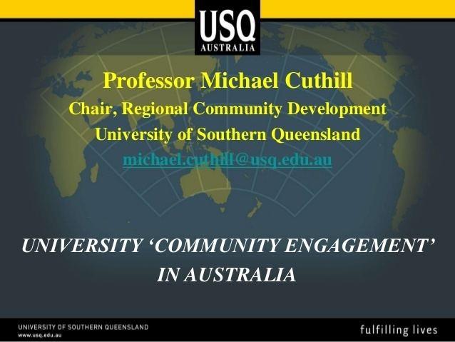 Michael Cuthill Prof Michael Cuthill UniversityCommunity Engagement in Australia