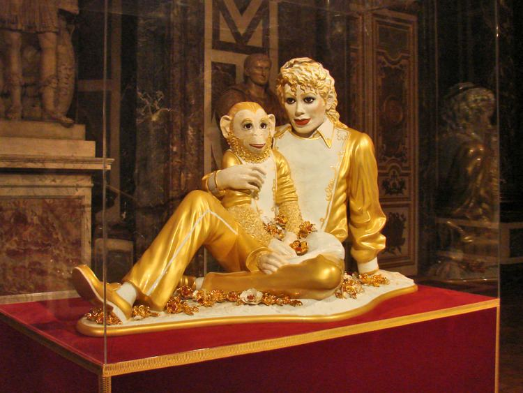 Michael Jackson and Bubbles Fragile and feminine Michael Jackson in controversial sculpture