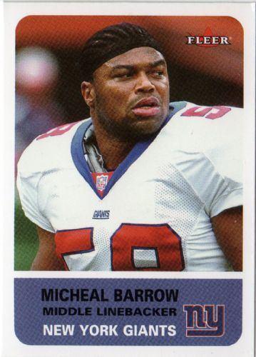 Micheal Barrow NEW YORK GIANTS Michael Barrow 14 FLEER Tradition 2002 NFL