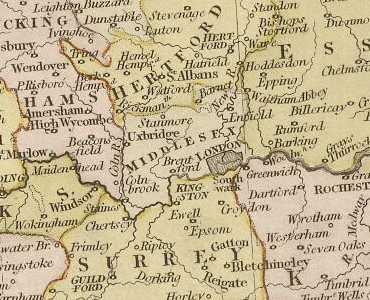 Middlesex History of Middlesex Map and description for the county