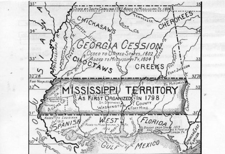Mississippi Territory Mississippi Territory Map 1798