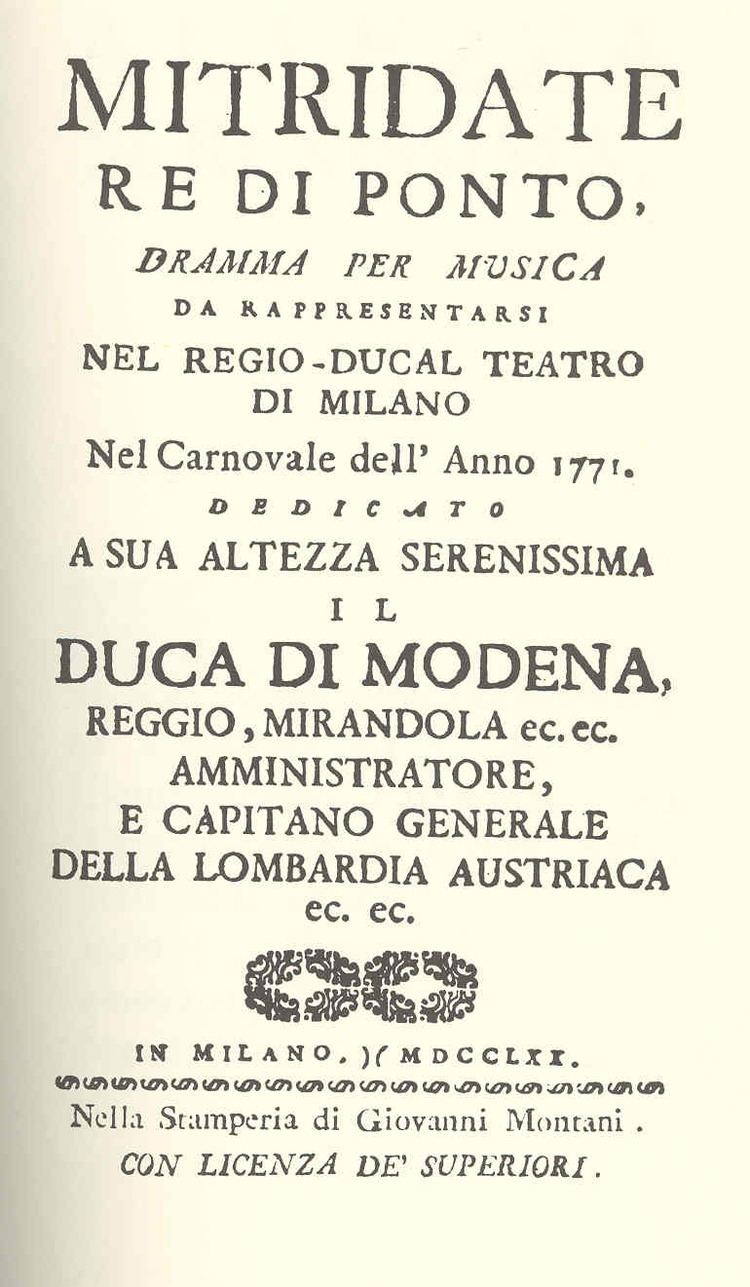 Mitridate, re di Ponto Mitridate About Mozart39s Opera One Delightful Day