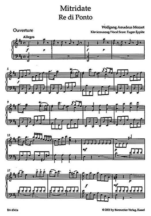 Mitridate, re di Ponto Sheet music for voice Wolfgang Amadeus Mozart Mitridate Re di