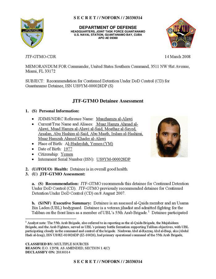 Moath Hamza Ahmed al Alwi ISN 28 Moath Hamza Ahmed al Alwi JTFGTMO Detainee Assessment