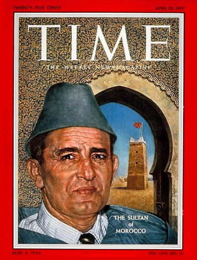 Mohammed V of Morocco imgtimeincnettimemagazinearchivecovers1957
