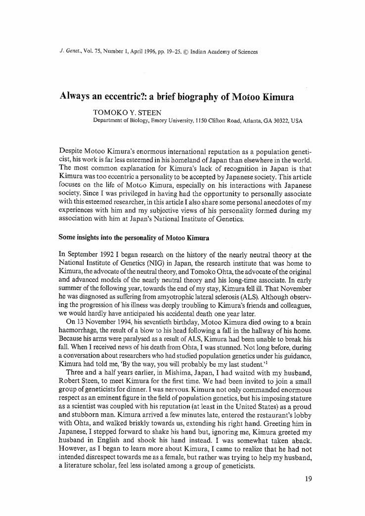 Motoo Kimura Always an eccentric A brief biography of Motoo Kimura